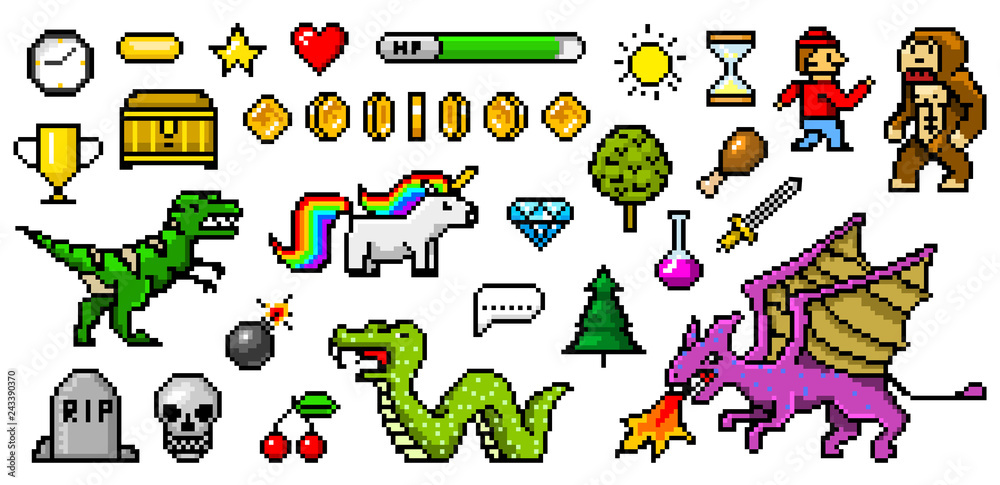 Fototapeta Pixel art 8 bit objects. Retro game assets. Set of icons. Vintage computer video arcades. Characters dinosaur pony rainbow unicorn snake dragon monkey and coins, Winner's trophy. Vector illustration.