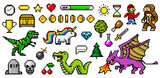 Fototapeta Dino - Pixel art 8 bit objects. Retro game assets. Set of icons. Vintage computer video arcades. Characters dinosaur pony rainbow unicorn snake dragon monkey and coins, Winner's trophy. Vector illustration.