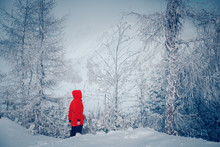 Woman In Red In Beautiful White Winter Forest