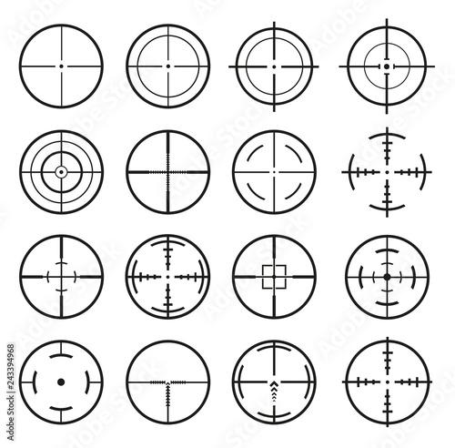 Valokuvatapetti Target Icon. Mega set 16 vector detailed crosshairs