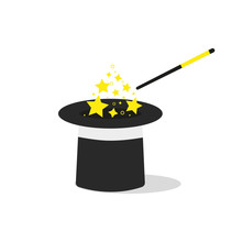 Cartoon Magic Wand With Stars Sparks, Black Magic Hat. Vector Illustration In Flat