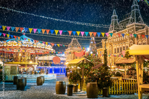 Moscow. Russia. Moscow in the winter. Christmas Holidays. The Red Square. Kremlin. New Year. Russian Federation. Travel to Russia. New Year's Fair on Red Square.