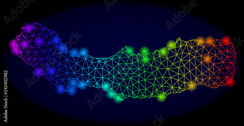 Fototapety, obrazy: Bright mesh vector map of Sao Miguel Island with glow effect. Light spots have bright rainbow colors. Abstract lines, triangles, glare spots on a dark background with map of Sao Miguel Island.