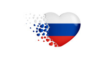 National Flag Of Russia In Heart Illustration. With Love To Russia Country. The National Flag Of Russia Fly Out Small Hearts