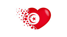 National Flag Of Tunisia In Heart Illustration. With Love To Tunisia Country. The National Flag Of Tunisia Fly Out Small Hearts