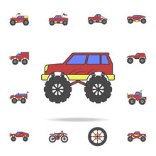 Bigfoot Car Field Coloricon. Detailed Set Of Color Big Foot Car Icons. Premium Graphic Design. One Of The Collection Icons For Websites, Web Design, Mobile App