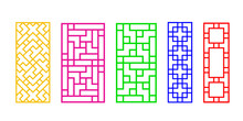 Rectangles Chinese Window Frame, Vector Art