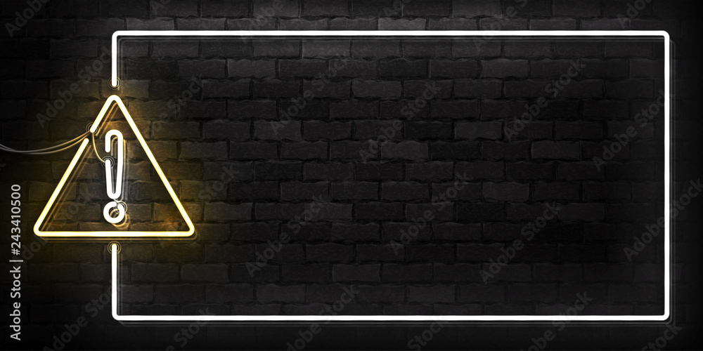 Fototapety, obrazy: Vector realistic isolated neon sign of Warning frame logo for decoration and covering on the wall background.