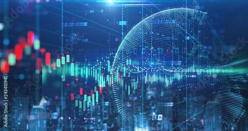 Photo  double exposure image of stock market investment graph and city skyline scene