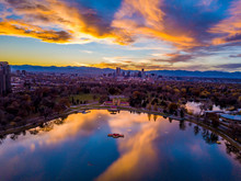 Beautiful Drone Sunset From Above City Park In Denver, Colorado