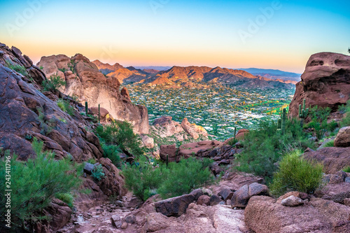 Tuinposter Arizona Colorful Sunrise on Camelback Mountain in Phoenix, Arizona