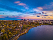 Colorful Drone Sunset At Sloan's Lake In Denver, Colorado