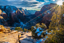 Hiking In The Winter Through Zion National Park In Utah