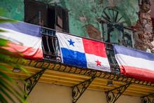 Patriotic Panama Flag On Rustic Balcony