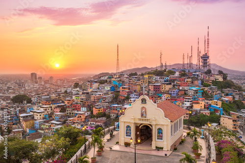 Canvas Prints Light pink Sunset in Guayaquil