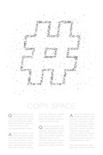 Abstract Geometric Low Polygon Square Box Pixel And Triangle Pattern Hashtag Sign, Social Network Connect Concept Design Black Color Illustration On White Background With Copy Space, Vector Eps 10