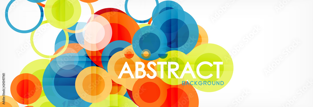 Fototapeta Abstract colorful geometric composition - multicolored circle background