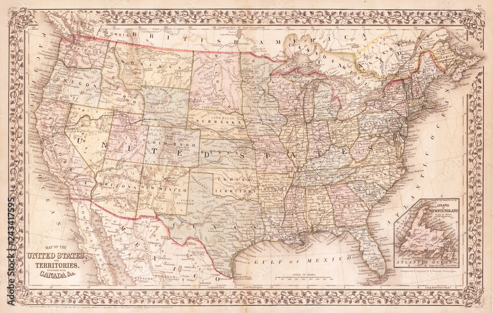 Fototapety, obrazy: Old Map of the United States, 1867, Mitchell