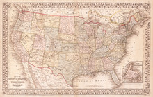 Old Map Of The United States, ...