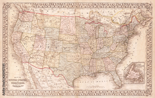 Photo Old Map of the United States, 1867, Mitchell