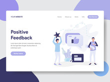 Landing Page Template Of Positive Feedback Illustration Concept. Modern Flat Design Concept Of Web Page Design For Website And Mobile Website.Vector Illustration