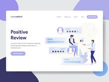 Landing Page Template Of Positive Review Illustration Concept. Modern Flat Design Concept Of Web Page Design For Website And Mobile Website.Vector Illustration