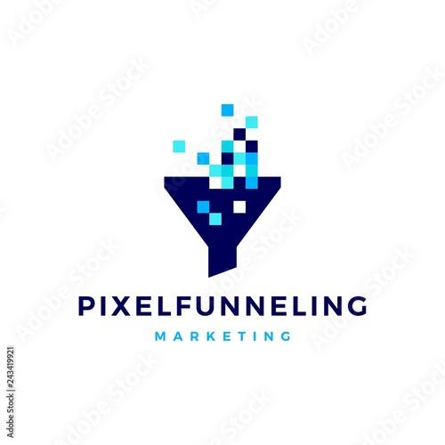 pixel funneling logo icon vector illustration Canvas Print