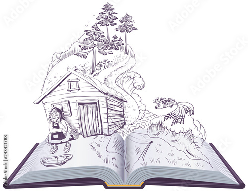 Printed kitchen splashbacks Castle Pushkin tale of fisherman and golden fish. Open book illustration