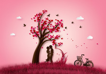 Two Enamored Under A Love Tree