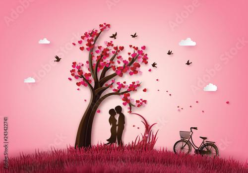 Fototapeta Two enamored under a love tree obraz