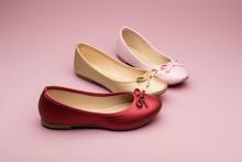 Flats Color Rojo, Dorado Y Ros...
