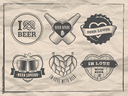Cuadros en Lienzo Valentines day beer logos