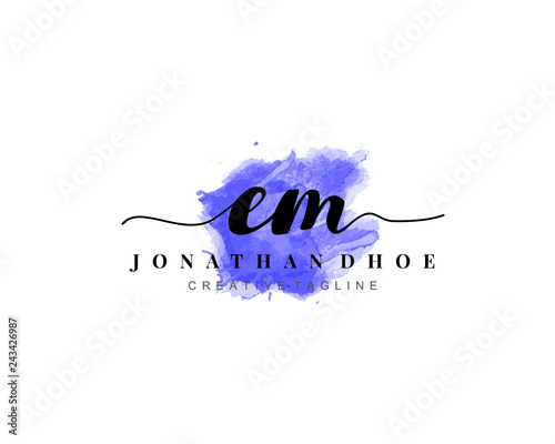 Photo  E M Initial watercolor logo on white background