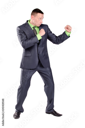 Fényképezés  Businessman is preparing to fight isolated on the white background