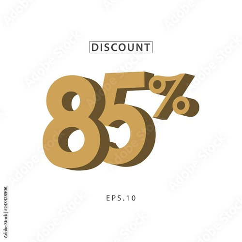 Fotografía  Discount 85% Vector Template Design Illustration