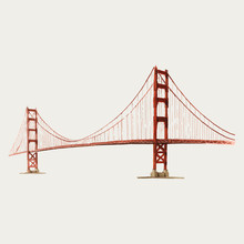 The Golden Gate Bridge Watercolor Illustration