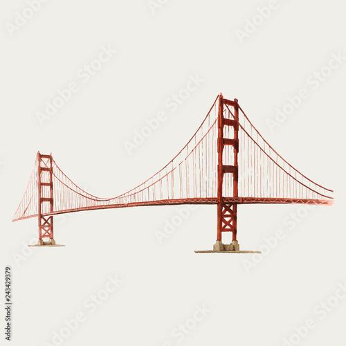 Fotomural The Golden Gate Bridge watercolor illustration