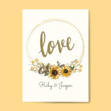 Floral Love Card Mockup Vector