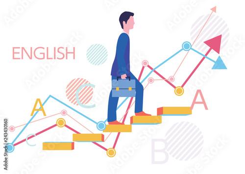 Valokuvatapetti 派遣社員の英語スキルとステップアップとグラフ-フラットデザインコンセプトイラスト