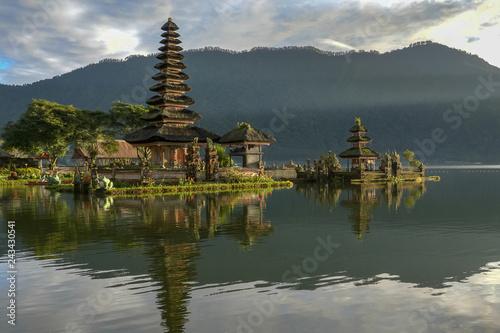Aluminium Prints Indonesia morning sunshine on pura danu bratan temple in bali, indonesia