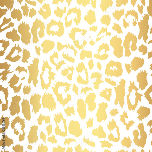 Seamless gold leopard print. Vector pattern, texture, background Fototapeta