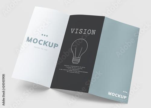 Fotomural Tri-fold brochure mockup printed materials