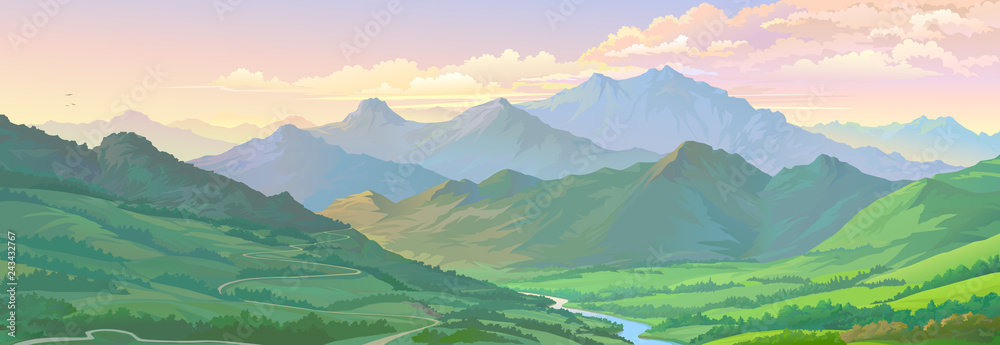 Fototapeta Realistic vector image of the mountain landscape and a river across the green fields.