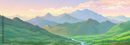 Obraz Realistic vector image of the mountain landscape and a river across the green fields. - fototapety do salonu