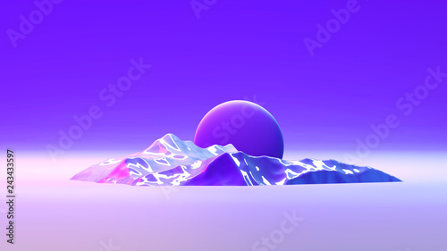 3d abstract background with space for text. Futuristic planet in purple, ink and blue colors. Bright trendy gradients. Mix of matt and glossy textures. Scene for posters, flyers, web and social media