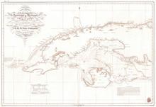 Old Nautical Chart Of Map Of Cuba, 1854, Hidrografica