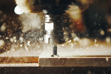 Machine Tool In Wood Factory With Drilling Cnc Machines. Computer Numerical Control.