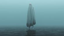 Floating Evil Spirit Over Water On A Foggy Day 3d Illustration 3d Rendering