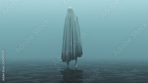 Photo Floating Evil Spirit Over Water on a Foggy Day 3d Illustration 3d Rendering