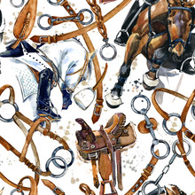 Harness Horse Watercolor Pattern. Equestrian Seamless Background. Horse Racing Vintage Illustration